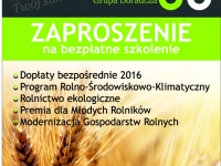 Zaproszenie na bezpłatne szkolenie dla rolników